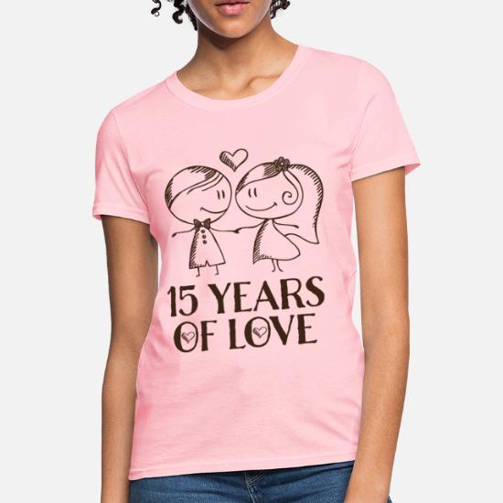2321ffd9db4 Anniversary T-Shirts - 15th Anniversary Love Couple - Women's T-Shirt pink