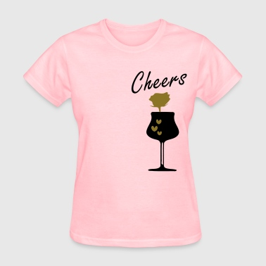 Red rose  hearts wine glass - Women's T-Shirt