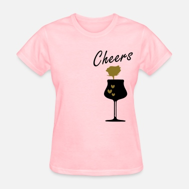 Wine Rose Red rose  hearts wine glass - Women's T-Shirt