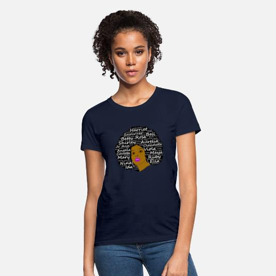 History T-Shirts - Black History Month Powerful Women in Natural Hair - Women's T-Shirt navy