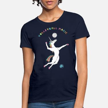 Funny Volleyball Volleyball Magic Unicorn Outline - Women's T-Shirt