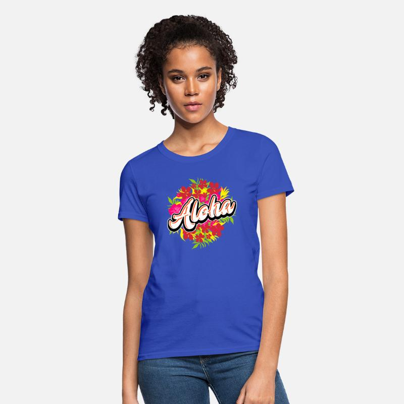3978b4899 Aloha Luau Flowers Hawaiian Vacation Tropical Women's T-Shirt   Spreadshirt