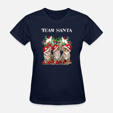 Cute Christmas Kitten Cats Team Santa - Women's T-Shirt