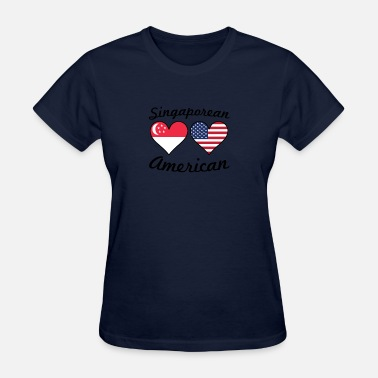 Singaporean Singaporean American Flag Hearts - Women's T-Shirt