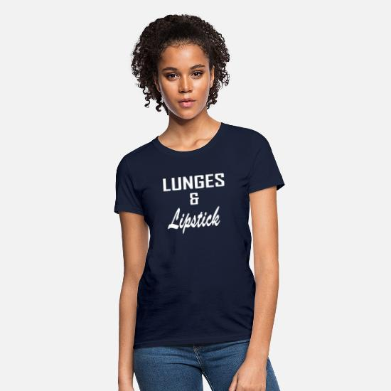 Lipstick T-Shirts - Lunges and lipstick - Women's T-Shirt navy