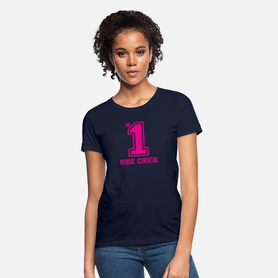 Chick T-Shirts - Number One Side Chick - Women's T-Shirt navy