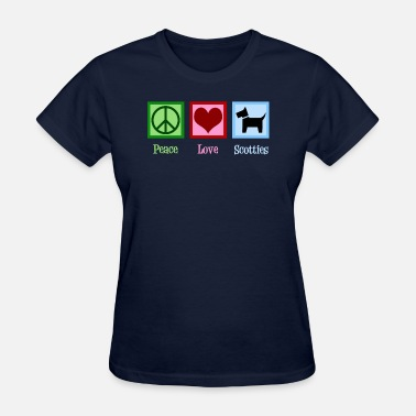 Scottie Dogs Peace Love Scotties | Cute Scottie Dog - Women's T-Shirt