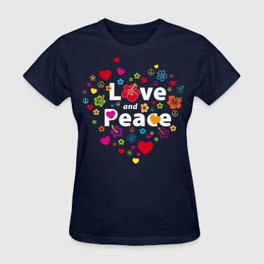 love and peace flowers and hearts - Women's T-Shirt