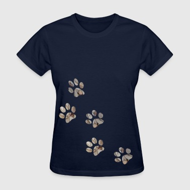 artTS collage art PAW PRINTS dog pet brownz - Women's T-Shirt