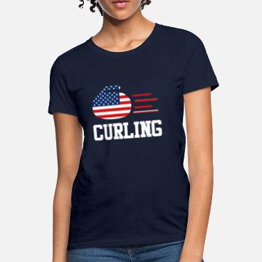 15a6df668 Curling Trendy Cool Sports | USA Curling Athlete American - Women's T.  Women's T-Shirt
