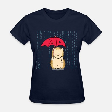 Red Torn hedgehog with umbrella in rain - Women's T-Shirt