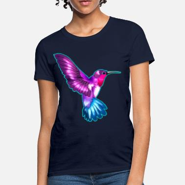 Blue Hummingbird Colorful Blue Hummingbird - Women's T-Shirt