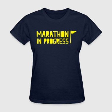 marathon in progress with little flag - Women's T-Shirt