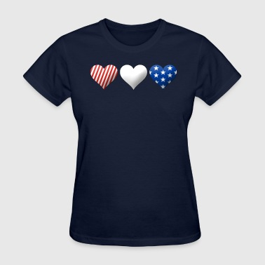 Red, White & Blue Hearts - Women's T-Shirt