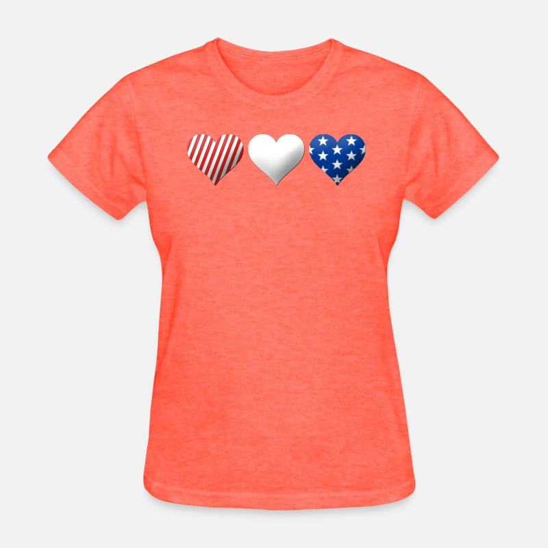 Red White Blue Hearts Womens T Shirt Spreadshirt