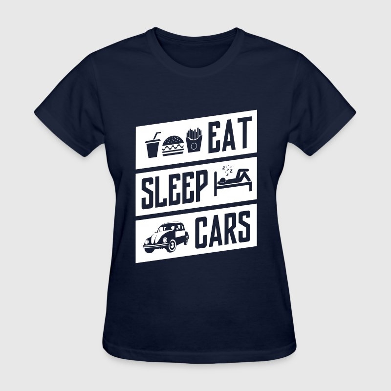 eat sleep cars - white - Women's T-Shirt