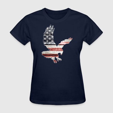 Patriotic Eagle with American Flag - Women's T-Shirt