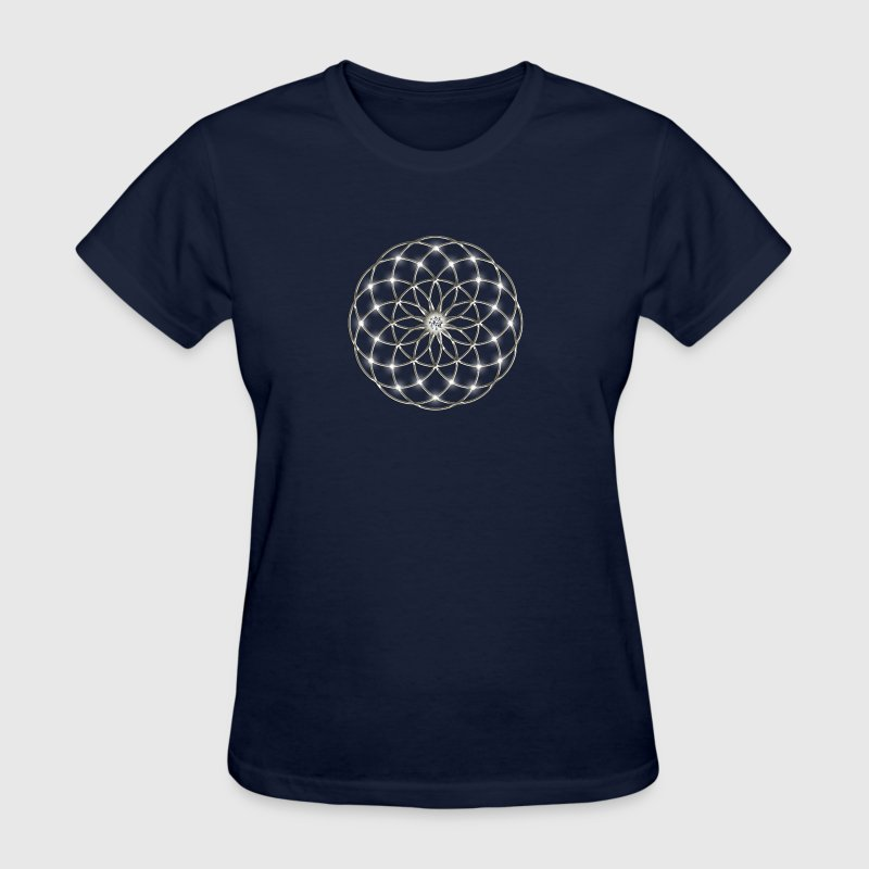 Flower of Life - Seed of Life - Tube Torus, DD silver, Energy Symbol, Sacred Geometry, - Women's T-Shirt