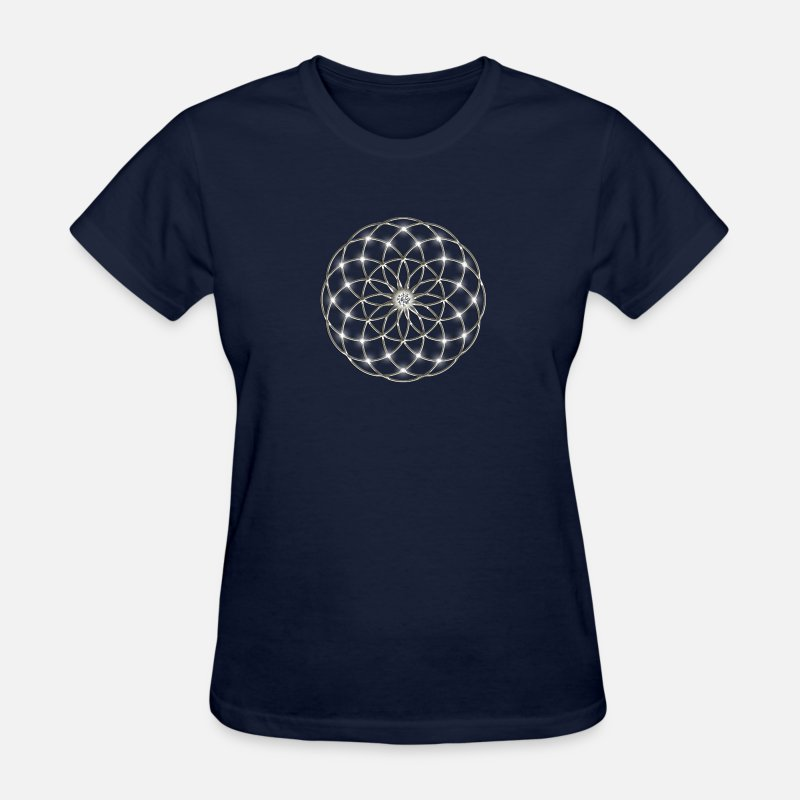 Belief T-Shirts - Flower of Life - Seed of Life - Tube Torus, DD silver, Energy Symbol, Sacred Geometry, - Women's T-Shirt navy