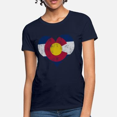 Faded Heart Vintage Fade Colorado Flag Heart - Women's T-Shirt