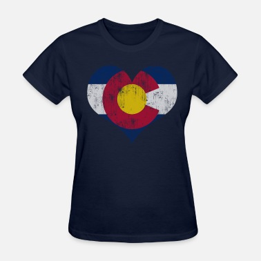 Faded Flag Vintage Fade Colorado Flag Heart - Women's T-Shirt