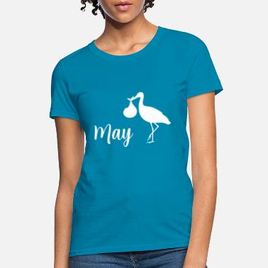 Baby On Board pregnant stork baby coming May - Women's T-Shirt