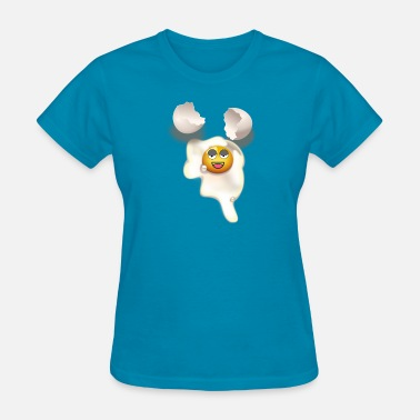 Eggshell Fried egg with smiley and broken eggshell - Women's T-Shirt