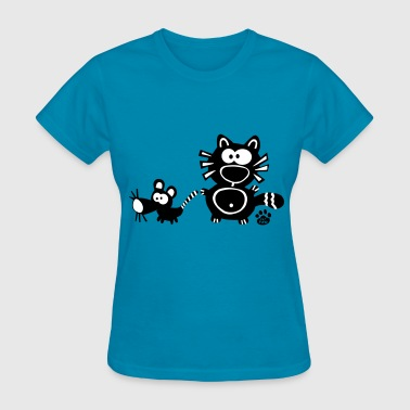 Catpaw Design Comic Cat Cats Kitten mouse rat rats - Women's T-Shirt