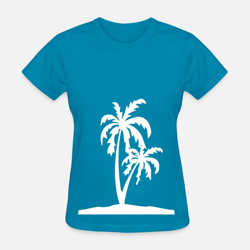 Coconut T-Shirts - Palm Tree Island - Women's T-Shirt turquoise