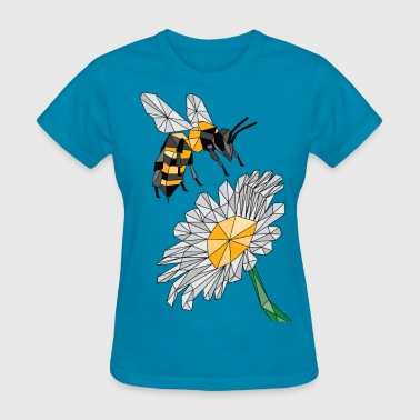 Geometric Bee & Flower - Women's T-Shirt