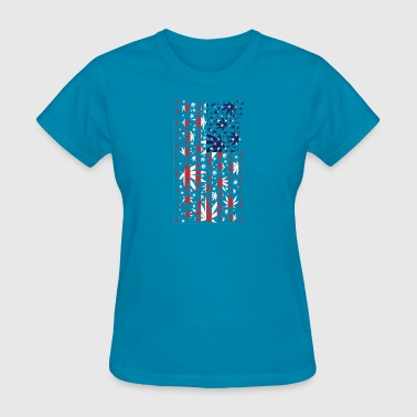 American Flag weed - Women's T-Shirt