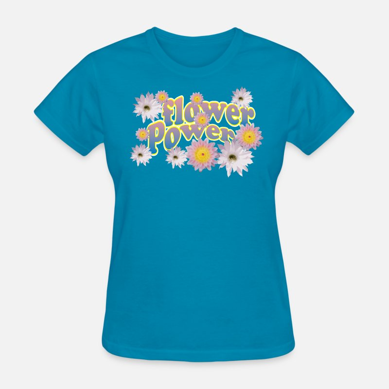 70s T-Shirts - Flower Power - Women's T-Shirt turquoise