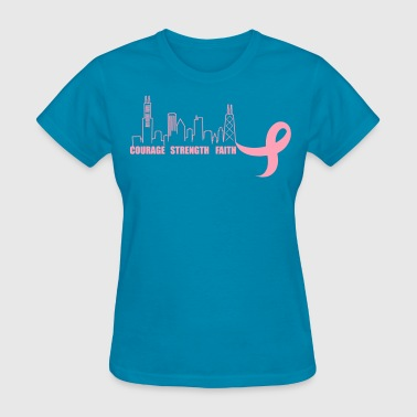 Courage strength faith breast cancer awareness - Women's T-Shirt
