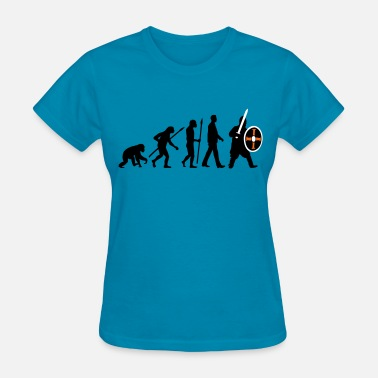 Game Thrones evolution_of_man_knight_with_sword_07201 - Women's T-Shirt
