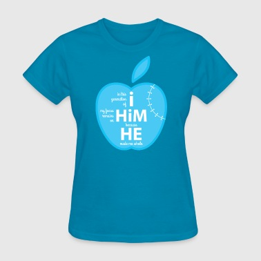 Cyan Graphic Design Christ Made Me Whole, Apple - Women's T-Shirt