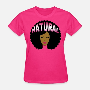 Afro Text Natural Afro (Pink) - Women's T-Shirt