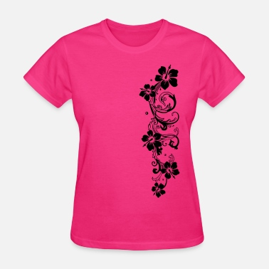 Hibiscus Flower Tendril with hibiscus, hibiscus flowers - Women's T-Shirt