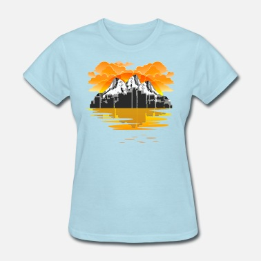 Cool Mountain Cool Sunset and Mountain Design - Women's T-Shirt
