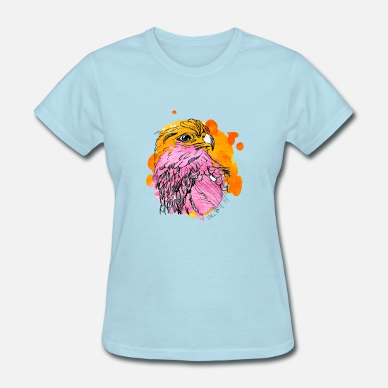 Pink T-Shirts - Eagle with Color Splashes Yellow and Pink - Women's T-Shirt powder blue