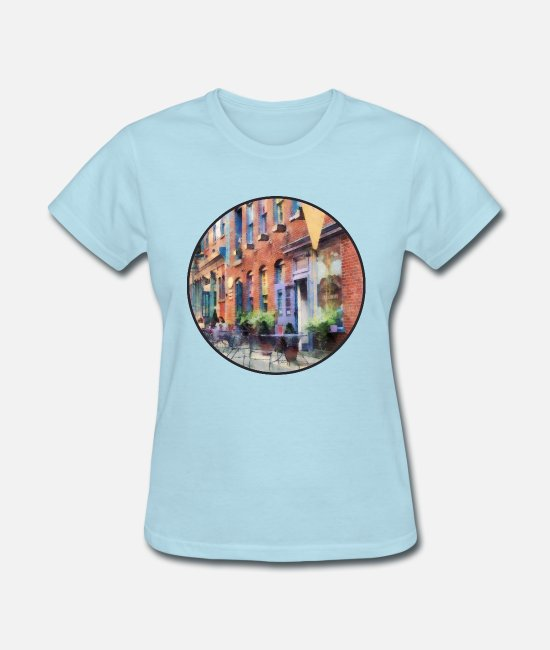 Signs T-Shirts - At the Ice Cream Parlor E - Women's T-Shirt powder blue