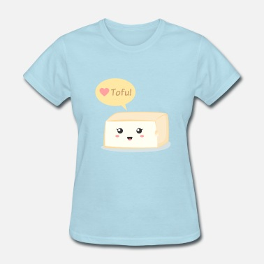Vegan love tofu, cute food doodle - Women's T-Shirt