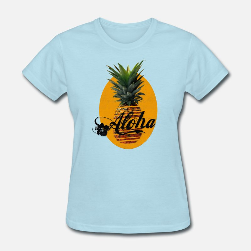Beach T-Shirts - Pineapple Aloha Hawaii Usedlook - Women's T-Shirt powder blue
