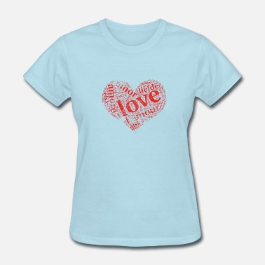 Elsk red grunge heart LOVE in different languages - Women's T-Shirt