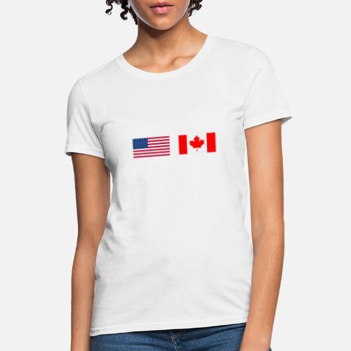 dd88ab7bb0f1 Flag T-Shirts - Canadian American Half Canada Half America Flag - Women s T-.  Do you want to edit the design