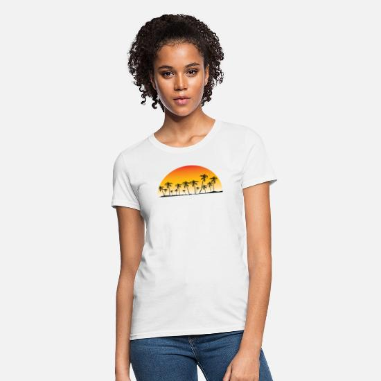 Beach T-Shirts - Fort Myers Florida Sunset Palm Trees Beach - Women's T-Shirt white
