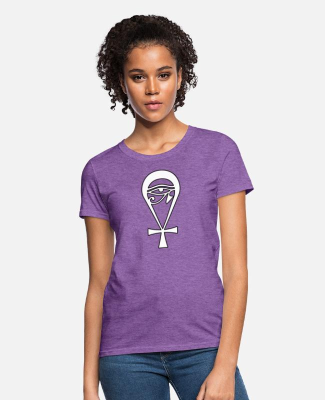 Eye Of Horus T-Shirts - Ankh Eye Of Horus Good Fortune Symbol - Women's T-Shirt purple heather