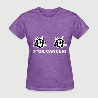 Fuck Fight Cancer Breast Cat Pink Cats Statement - Women's T-Shirt
