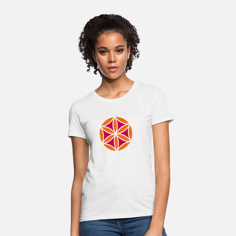 Feng Shui T-Shirts - Flower of Aphrodite, 2c, Symbol of  love, beauty and transformation, Power Symbol, Talisman - Women's T-Shirt white