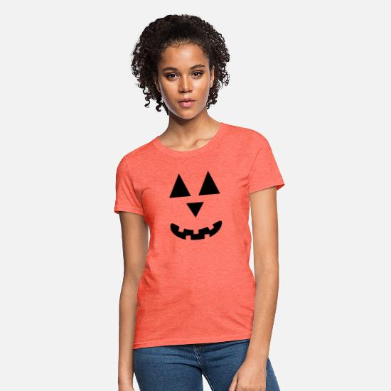 Trick Or Treat T-Shirts - Halloween Jack O Lantern, pumpkin face - Women's T-Shirt heather coral