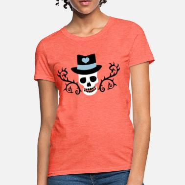 Creepy Gothic creepy gothic skull with top hat and thorns - Women's T-Shirt